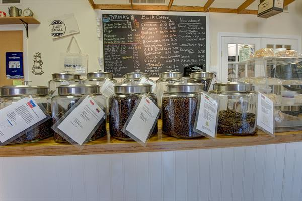 Our Display of 100% current crop Arabica coffees.