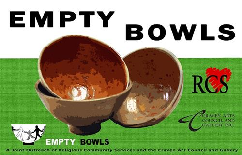 The Craven Arts Council & Gallery partners with RCS to bring Empty Bowls to New Bern, an annual event to fight hunger.