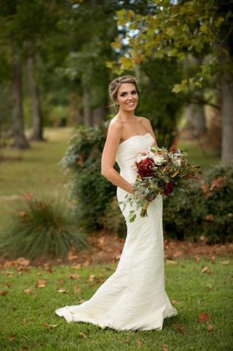 Stunning bride - Wilmington Bride in our designer Kitty Chen silk gown