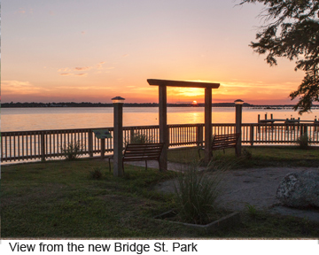 Bridge Street Park supported by BIC grant. The site of the old wooden swing Neuse River Bridge opened 1898 from Bridge St to Johnson St. Rebuilt 1913 and 1933 after hurricanes