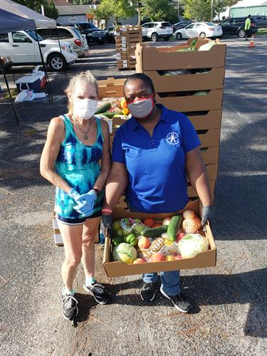 Helping in the community with food drive with other organizations