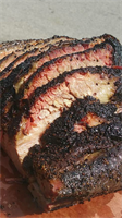 Slow smoked central Texas brisket cooked overnight for 15-18 hours!