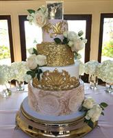Gorgeous blush & gold wedding cake