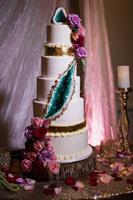 Emerald Geode cake at the Terrace Club in Dripping Springs, featured in a full page spread in American Cake Decorating Magazine.