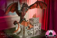 Vampire Dragon looming over Castle Dracul, groom's cake, dragon was lit from inside