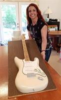 Fender Stratocaster guitar in exact replica of groom's guitar, all edible except the strings!