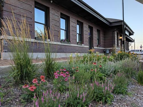 Complete restoration of the landscaping at the Amtrak Depot