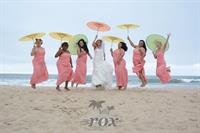 Bethany Beach Bridesmaids with wedding parasols
