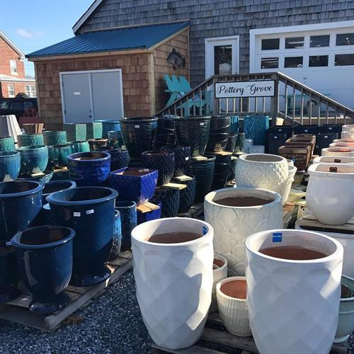 Our Pottery Grove wraps around the building with 100s of beautiful pots to choose from.  We have the biggest selection in lower Delaware!