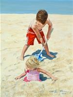 """Burying Treasure,"" 16"" x 12"" oil portrait for Ellen's ongoing Children by the Sea series"