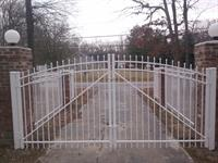 White Aluminum Arched Double Gate