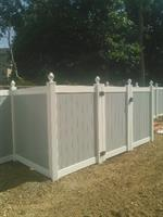 White Vinyl Fence with Gray Boards