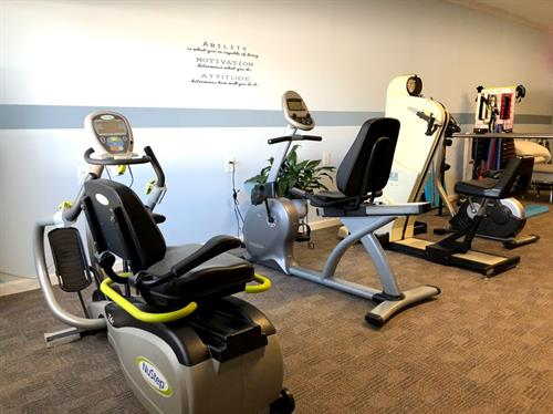 coastal care gym -nu step, recumbent bike, upright bike, cybex UE ergo