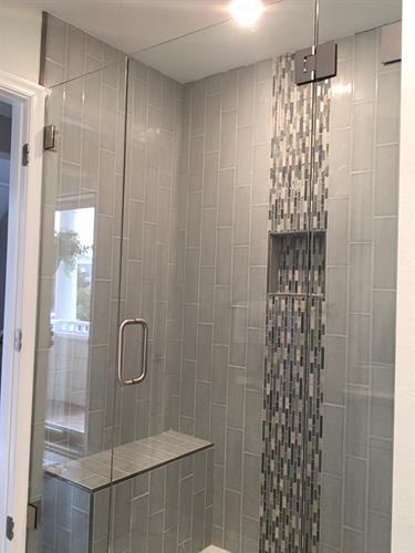 Shower with Chrome Hardware