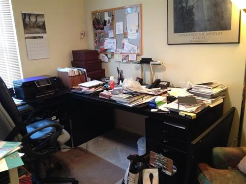 BEFORE-Disorganized office desk