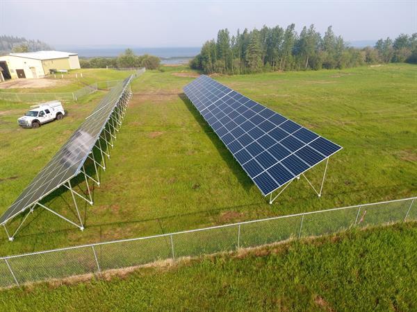 Large groundmount solar PV system at Gift Lake metis Settlement near High Prairie