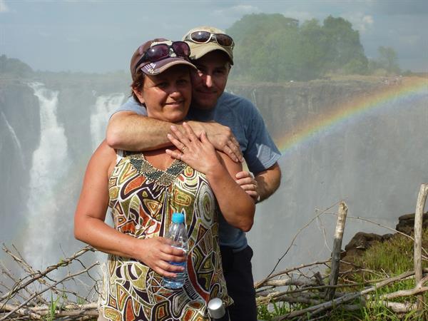 Alison at Victoria Falls, Zimbabwe