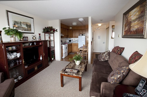 A suite in Meridian Pioneer Manor, independent apartment-living for seniors in Stony Plain.