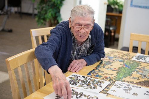 Puzzles are a favorite pastime of many residents.