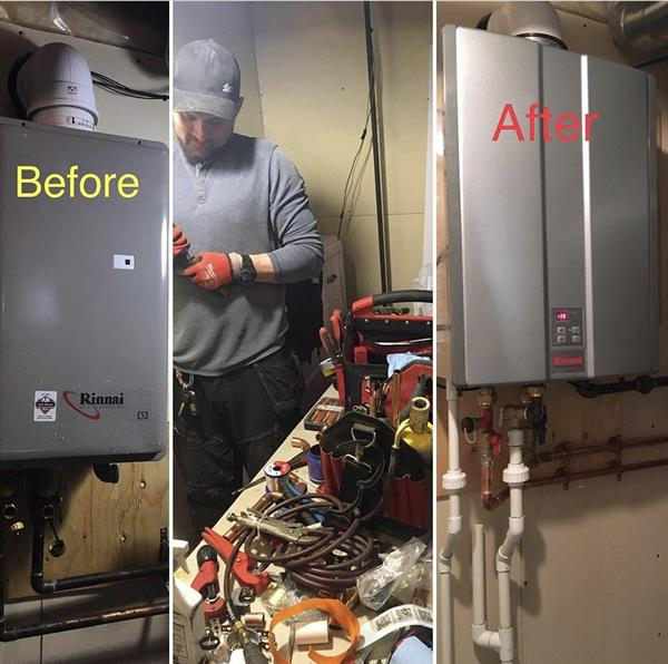 Before and after Tankless hot water