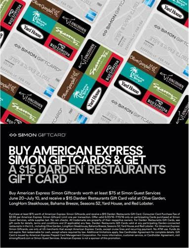 Cincinnati Premium Outlets American Express Darden Restaurant Card Promotion Jun 28 2016 To