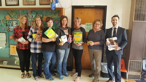 Donating school supplies to Wayne Elementary