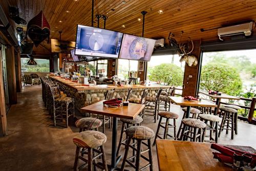 Indoor patio bar area