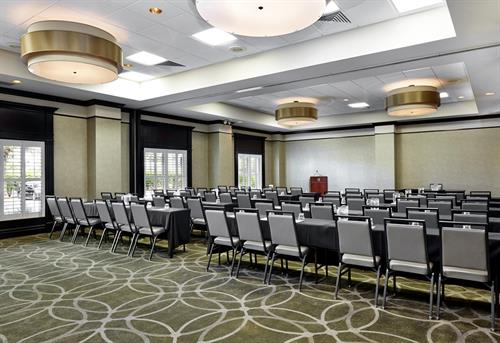 "The Causeway Ballroom ~ showing one section of three, set ""Classroom Style"""