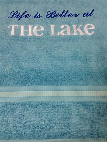 life is better at the lake gift towel