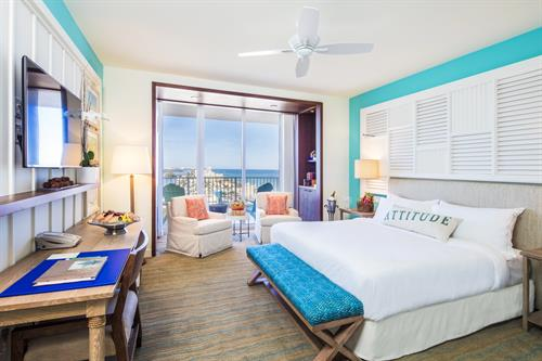 A king-bed partial ocean view guest room within the resort. One of more than 15 separate types of guest rooms and suites within the resort.