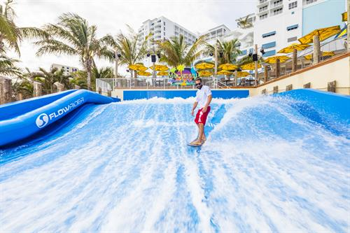The FlowRider Double surf and body board machine is open to the public, and open daily, weather dependent.