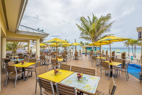 LandShark Bar and Grill.  Perched on the north entrance of the Resort's backyard, this location is open to the public, overlooks the Historic Hollywood Beach Broadwalk, features terrace-overlook seating as well as roof-shaded seating, and overlooks both the FlowRider Double surf and bodyboard machine plus the Hollywood Beach Bandshell.  There is no better public-entry restaurant location on the Broadwalk to take in scenic view of  passers-by while dining on the Broadwalk.