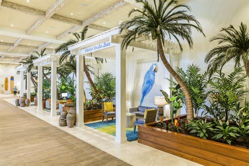 Resting and lounge cabanas, located within the lobby at Margaritaville Hollywood Beach Resort