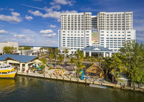 Margaritaville Hollywood Beach Resort front of resort shot.  5 o'Clock Somewhere located here, as well as the southernmost stop on the Water Taxi (stops hourly, during standard daylight hours)