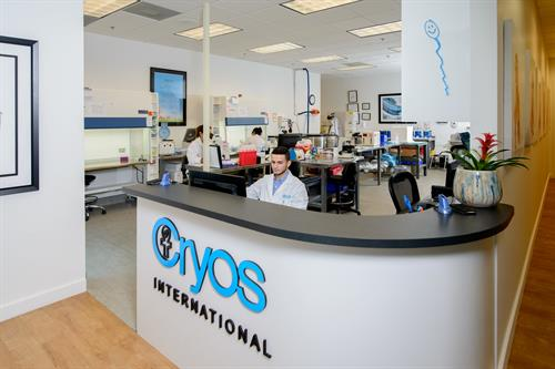 Front desk to the Cryos sperm bank