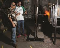 Teaching a begginer's glassblowing Class