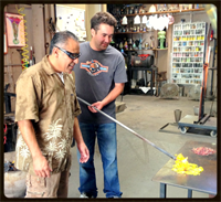 Teaching a glassblowing Class