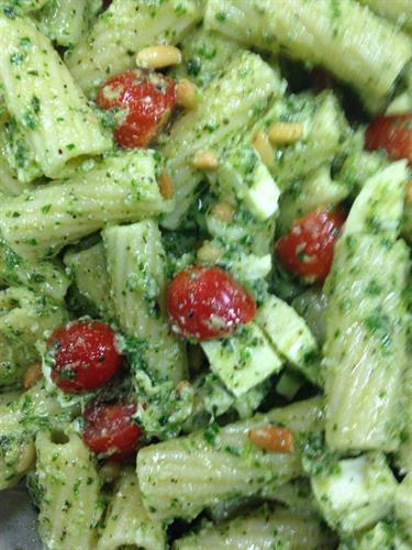 Rigatoni Pasta Salad w/ Tina's special pesto.