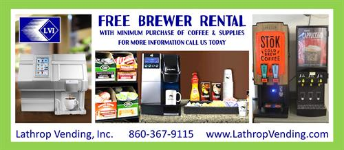 Free Brewer Rental Call for more Infomation