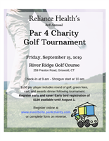 Reliance Health Seeks Sponsors and Players for 3rd Annual Par 4 Charity Golf Tournament Sept 13