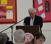 Rev. George Blair, United Congregational Church in Norwich, addresses attendees at the 2017 MLK Luncheon at Norwich Free Academy