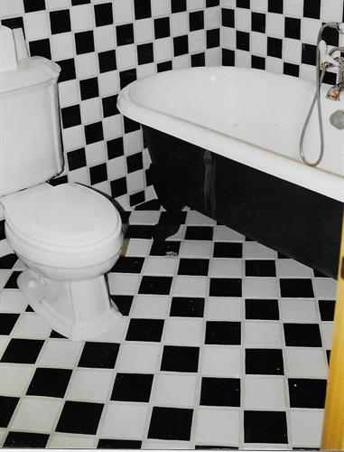 Checkered bathroom