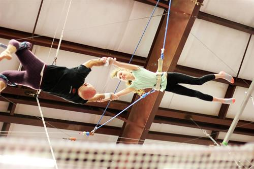 A great catch on the flying trapeze