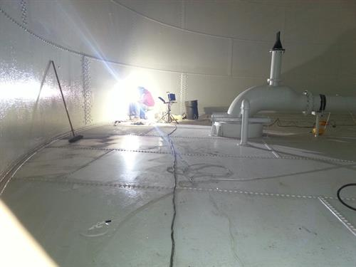 Installation of cathodic protection system for water storage tank