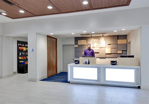 Our newly renovated lobby and front desk