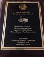 2015 Productivity Award - Texas Crime Stoppers Council