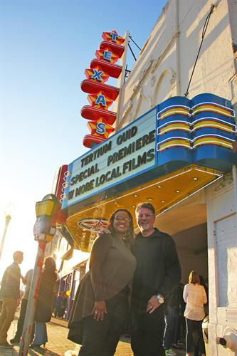 Denise Lee (actor) and J Matt Wallace (director) at the screening of award-winning TERTIUM QUID (2017 Short) at the Texas Theatre in Oak Cliff.