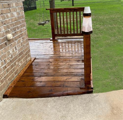 Wood deck with a ramp