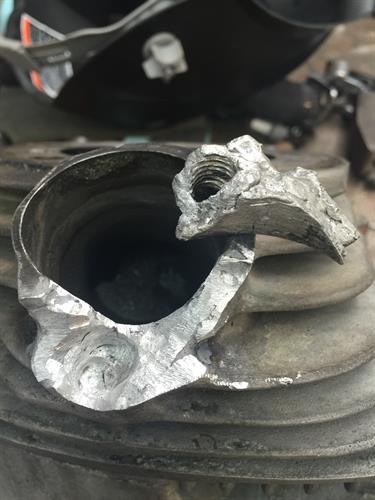 A previous failed repair on a panhead exhaust stud