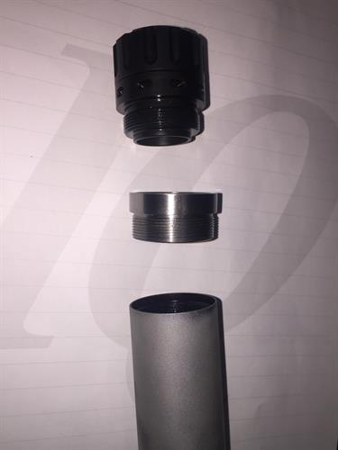 Exploded view of a custom adapter for a 3-lug suppressor mount